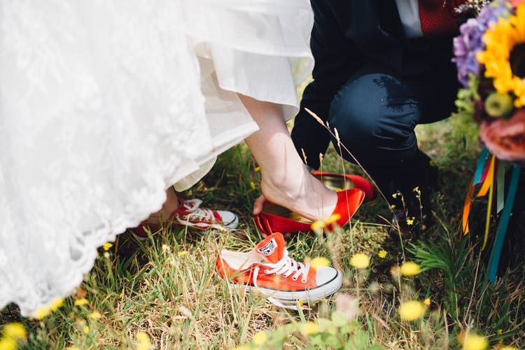 Converse Bride Colourful Festival Glamping Fete Games Wedding http://www.newforeststudio.com/