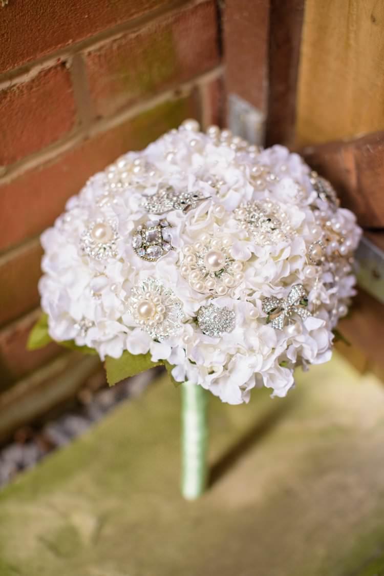 Hydrangea Brooch Bouquet Bridal Flowesr White Classic 1920s Gatsby Wedding Newland Hall http://www.fayecornhillphotography.co.uk/