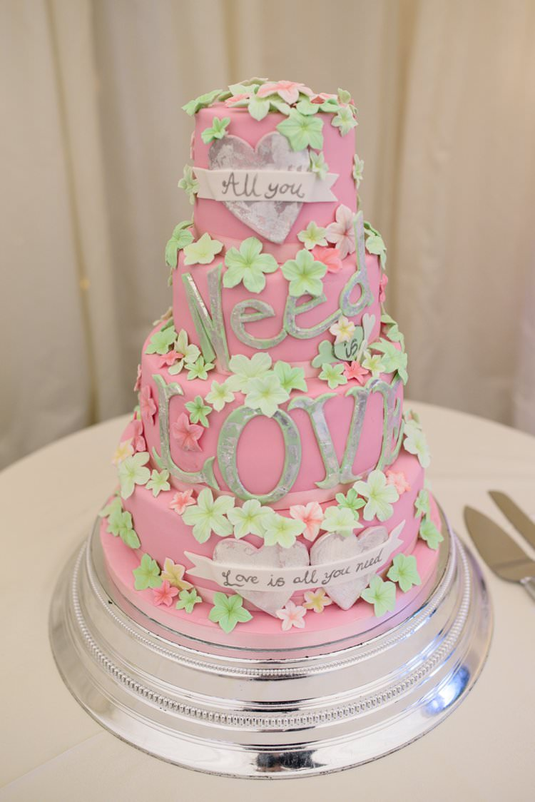 All You Need is Love Cake Pink Green Flowers Classic 1920s Gatsby Wedding Newland Hall http://www.fayecornhillphotography.co.uk/