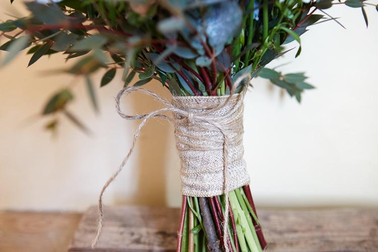 Twine Hessian Bouquet Wrap Quaint Rustic Seaside Windmill Wedding Norfolk http://www.fullerphotographyweddings.co.uk/