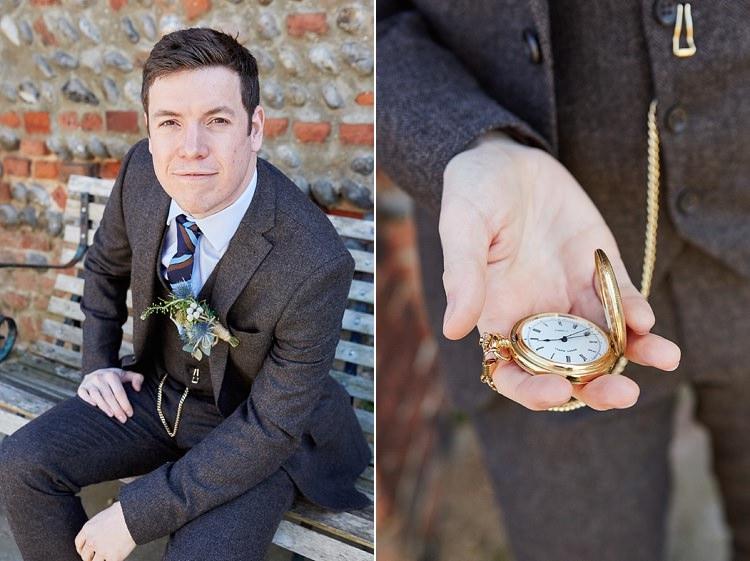 Next Tweed Groom Suit Quaint Rustic Seaside Windmill Wedding Norfolk http://www.fullerphotographyweddings.co.uk/