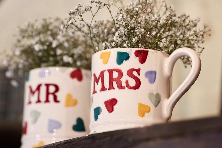 Mr Mrs Mugs Flowers Quaint Rustic Seaside Windmill Wedding Norfolk http://www.fullerphotographyweddings.co.uk/