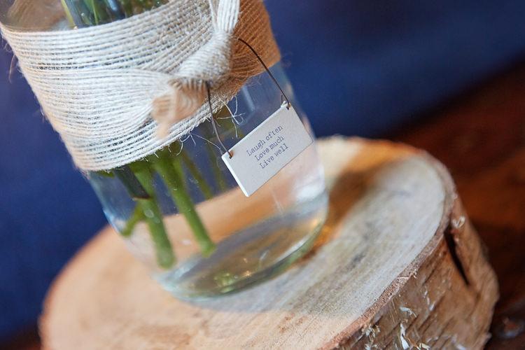 Jar Flowers Decor Sign Quaint Rustic Seaside Windmill Wedding Norfolk http://www.fullerphotographyweddings.co.uk/