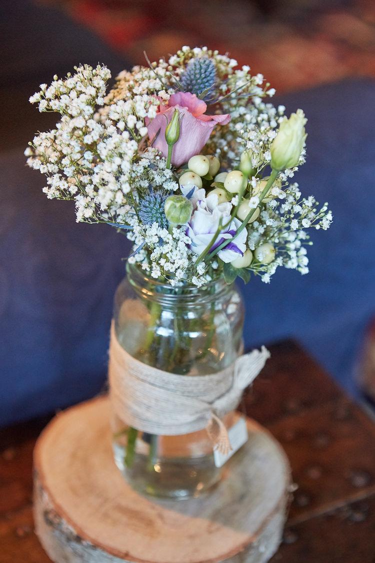 Hessian Jar Flowers Log Quaint Rustic Seaside Windmill Wedding Norfolk http://www.fullerphotographyweddings.co.uk/