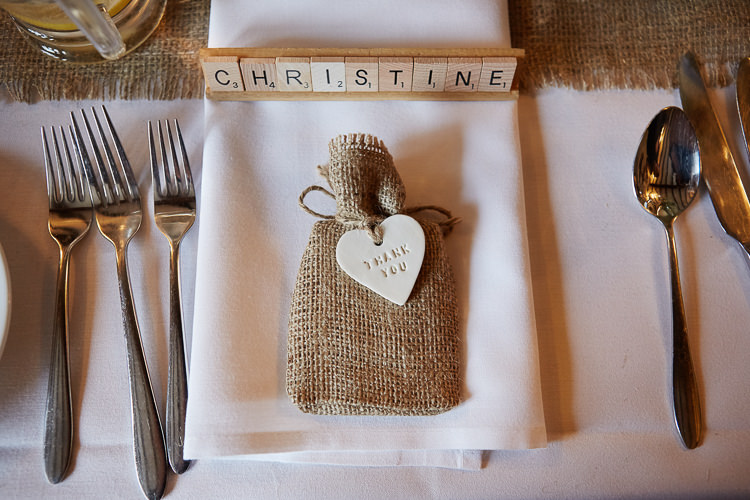Hessian Scrabble Place Name Setting Favours Quaint Rustic Seaside Windmill Wedding Norfolk http://www.fullerphotographyweddings.co.uk/