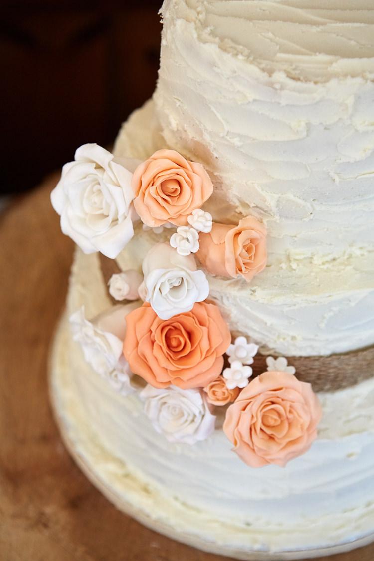 Flower Buttercream Icing Cake Peach Cream Quaint Rustic Seaside Windmill Wedding Norfolk http://www.fullerphotographyweddings.co.uk/