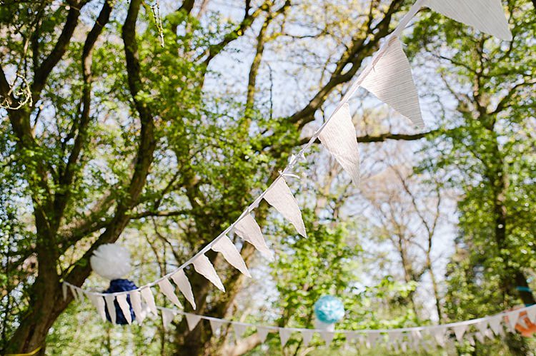 White Bunting Colourful Outdoor Woodland DIY Yurt Wedding http://alexa-loy.com/