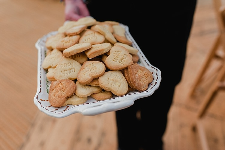 Heart Biscuits Colourful Outdoor Woodland DIY Yurt Wedding http://alexa-loy.com/
