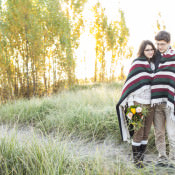 Cosy Coffee, Blankets & Flowers Sunrise Lake Ontario Engagement