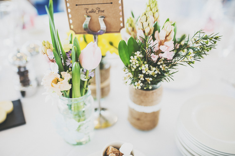 Jar Flowers Centrepiece Tables Pretty Spring Country Rustic Wedding Northamptonshire Racecourse http://www.frankee-victoria.co.uk/