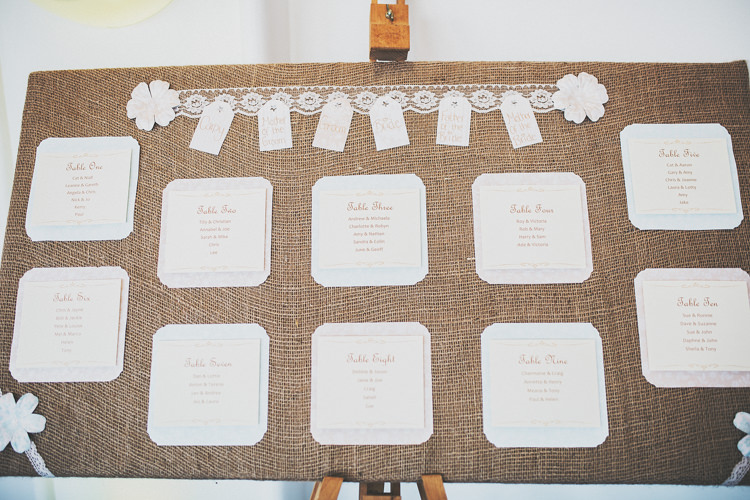 Hessian Table Seating Plan Chart Pretty Spring Country Rustic Wedding Northamptonshire Racecourse http://www.frankee-victoria.co.uk/