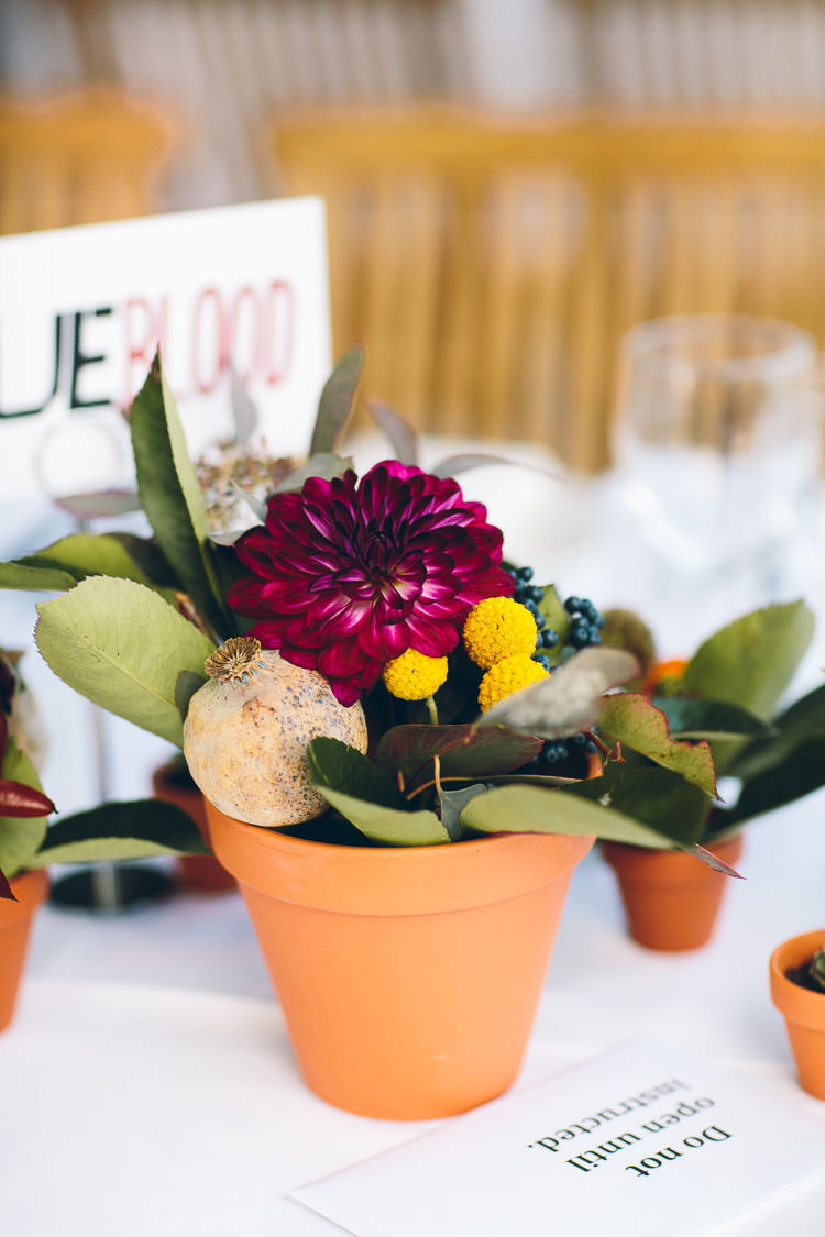 Autumn Flowers Centrepiece Terracotta Pots Billy Balls Dahlia Cotswolds Barn Laid Back Stylish Wedding http://albertpalmerphotography.com/