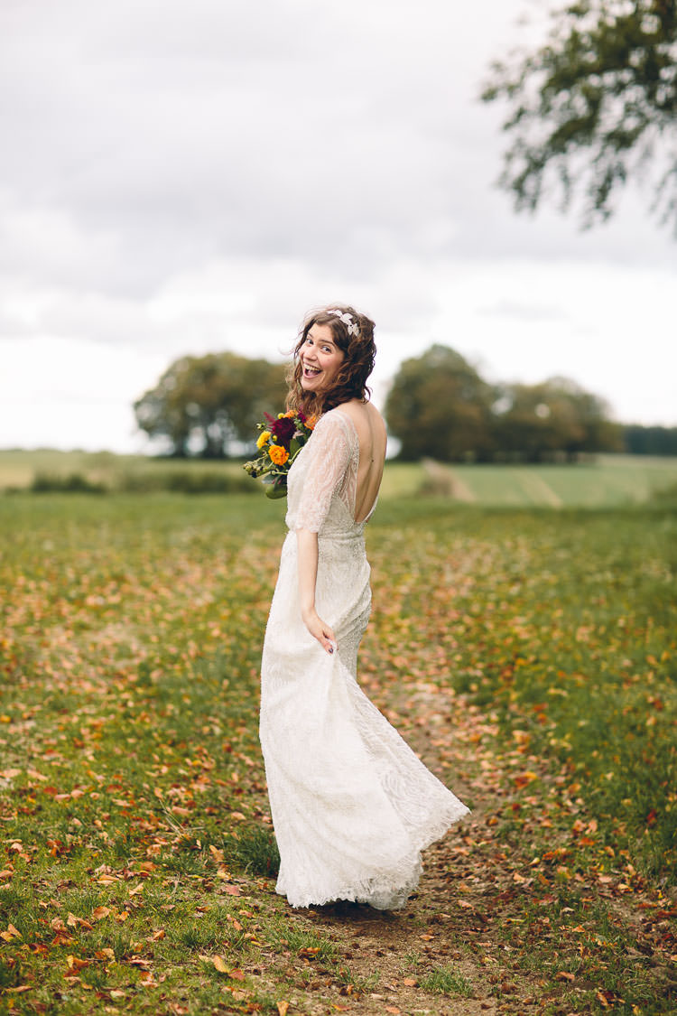 The Gibson by Sarah Seven Beaded Sleeves Dress Bride Bridal Cotswolds Barn Laid Back Stylish Wedding http://albertpalmerphotography.com/