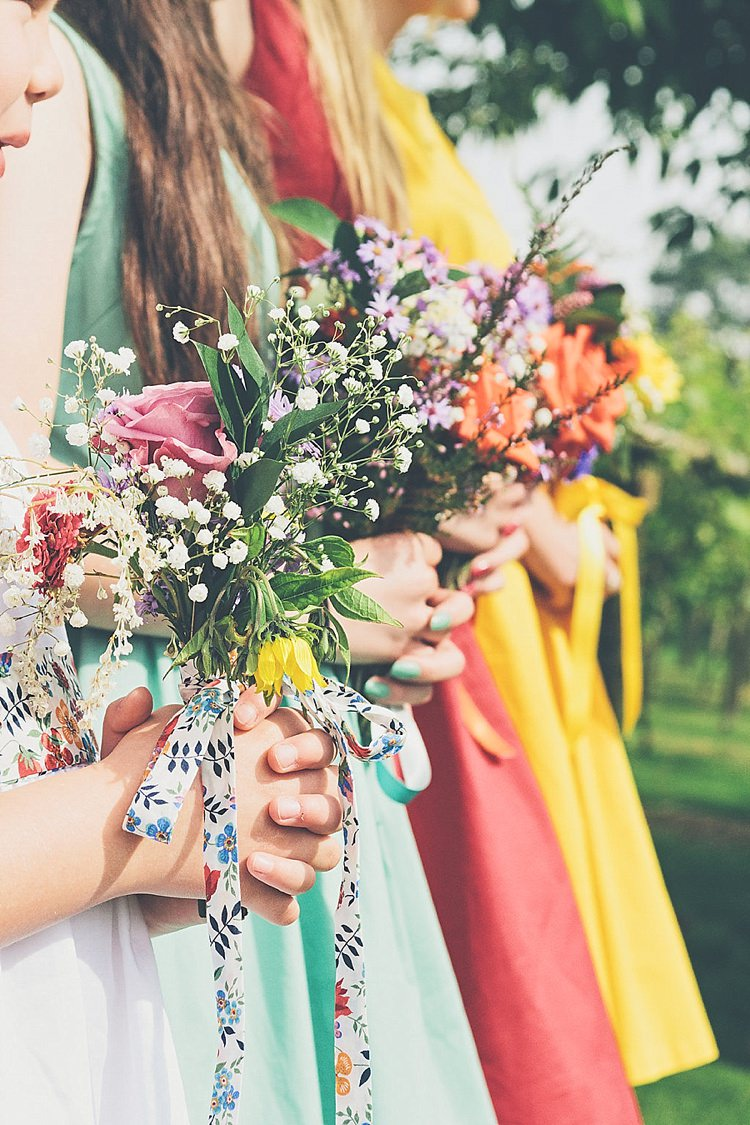Bridesmaids Bouquets Flowers Ribbons Wild Rainbow Railway Vintage 1950s Home Made Wedding http://www.jessicawitheyphotography.com/