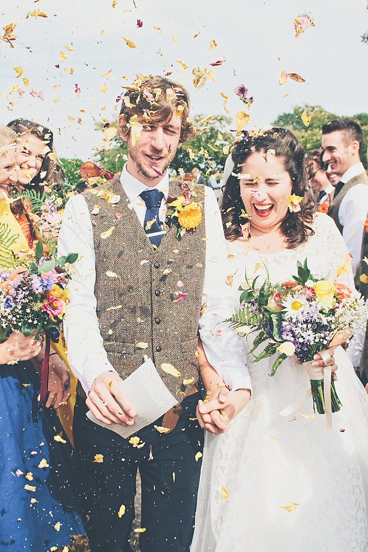 Petal Confetti Rainbow Railway Vintage 1950s Home Made Wedding http://www.jessicawitheyphotography.com/