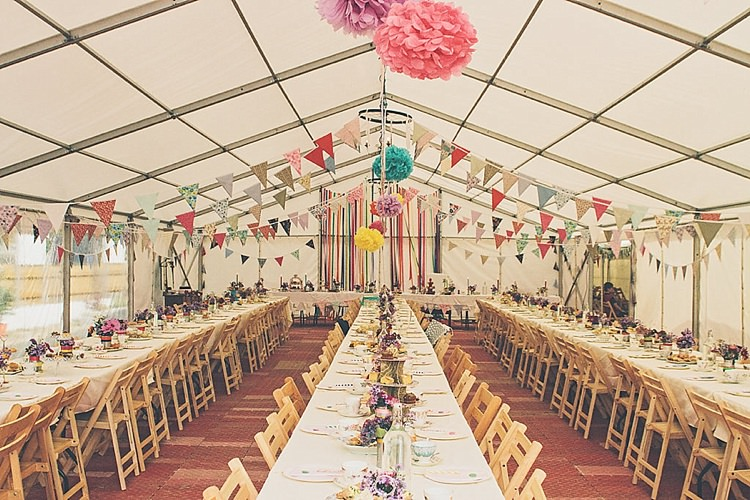 Marquee Rainbow Railway Vintage 1950s Home Made Wedding http://www.jessicawitheyphotography.com/