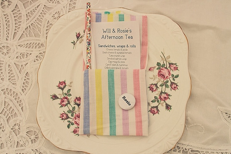 Napkin Badge Place Name Setting China Rainbow Railway Vintage 1950s Home Made Wedding http://www.jessicawitheyphotography.com/