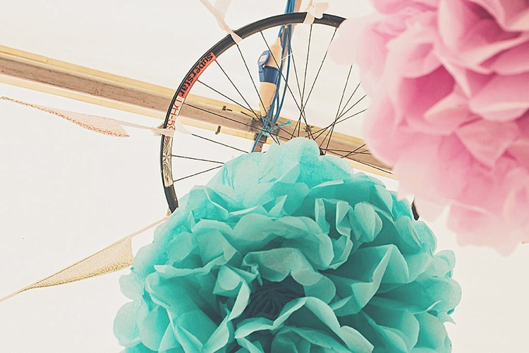 Bicycle Pom Poms Rainbow Railway Vintage 1950s Home Made Wedding http://www.jessicawitheyphotography.com/