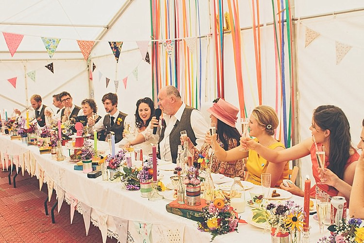 Ribbon Backdrop Rainbow Railway Vintage 1950s Home Made Wedding http://www.jessicawitheyphotography.com/