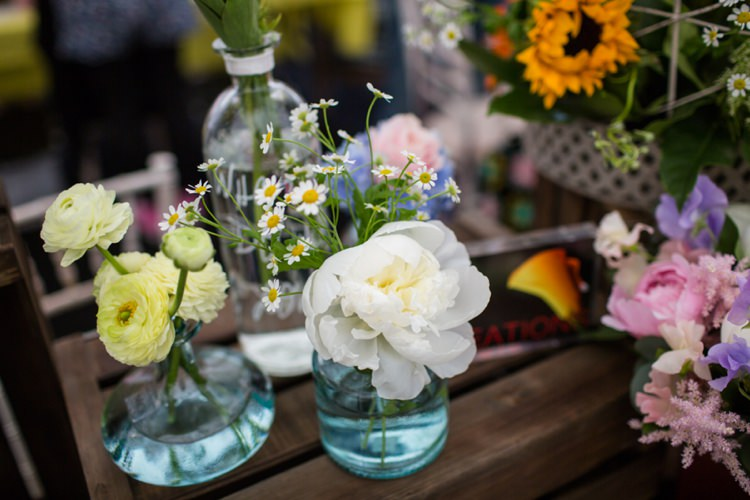 Bottle Flowers Daisies Tie The Knot Wedding Carnival Hertfordshire Fair Event http://www.binkynixon.com/