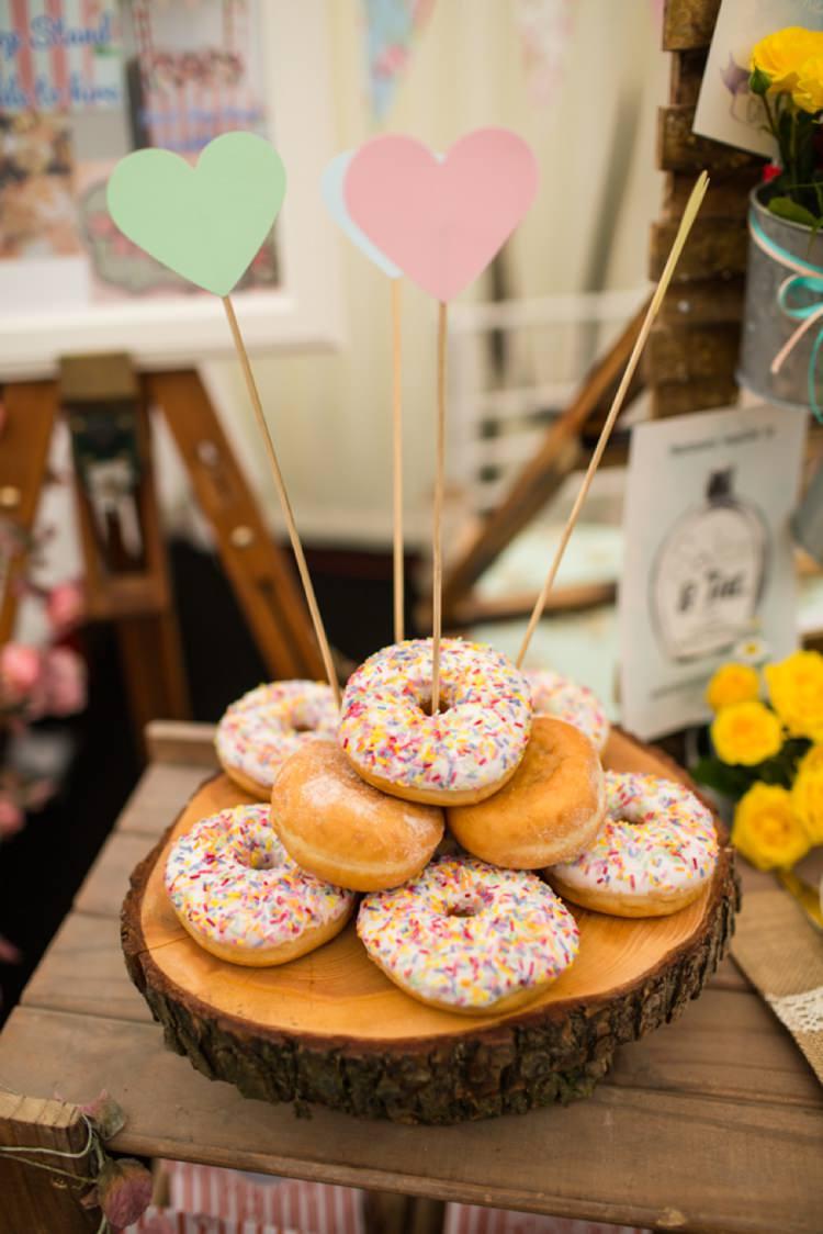 Donut Cake Dolly Dimples Weddings Tie The Knot Wedding Carnival Hertfordshire Fair Event http://www.binkynixon.com/