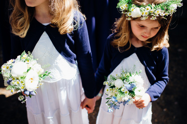Flower Girls Bouquets Blue Cardigans Relaxed London Vintage Spring Wedding http://www.mariannechua.com/