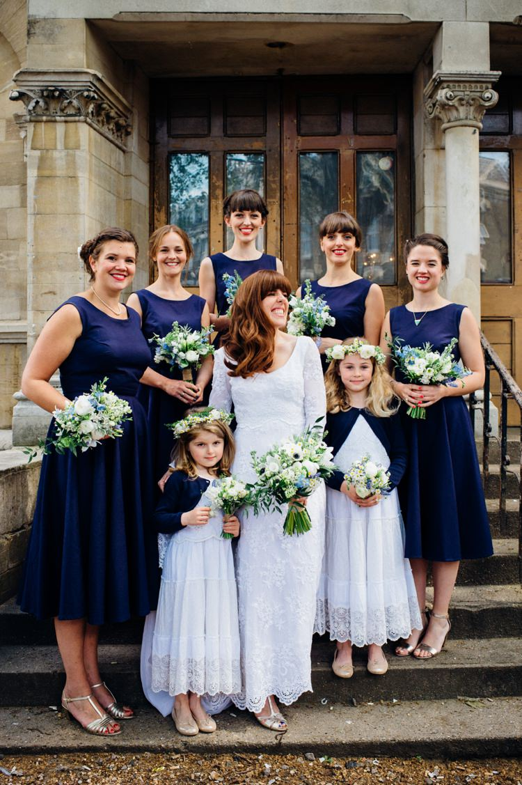 Dark Navy Blue Bridesmaid Dresses Relaxed London Vintage Spring Wedding http://www.mariannechua.com/