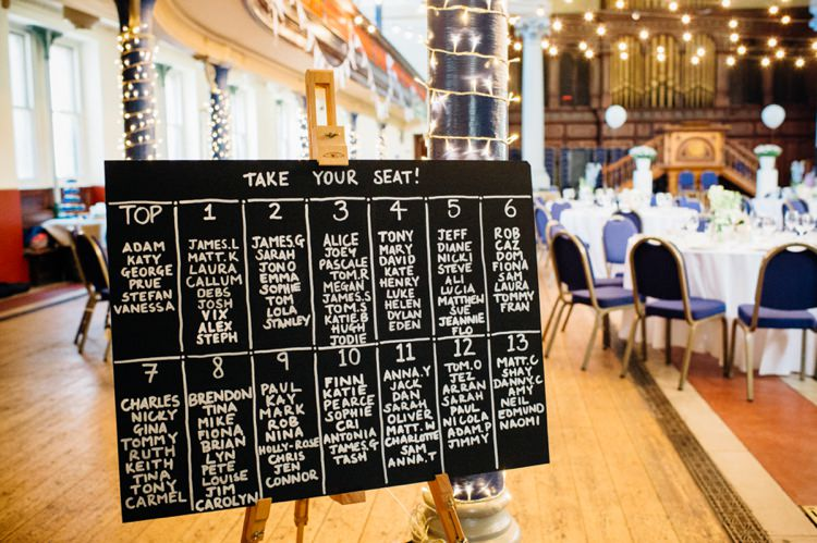 Blackboard Chalk Seating Table Plan Chart Relaxed London Vintage Spring Wedding http://www.mariannechua.com/