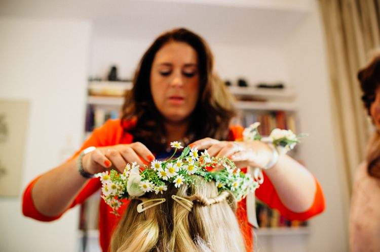 Flowergirl Flower Crown Relaxed London Vintage Spring Wedding http://www.mariannechua.com/