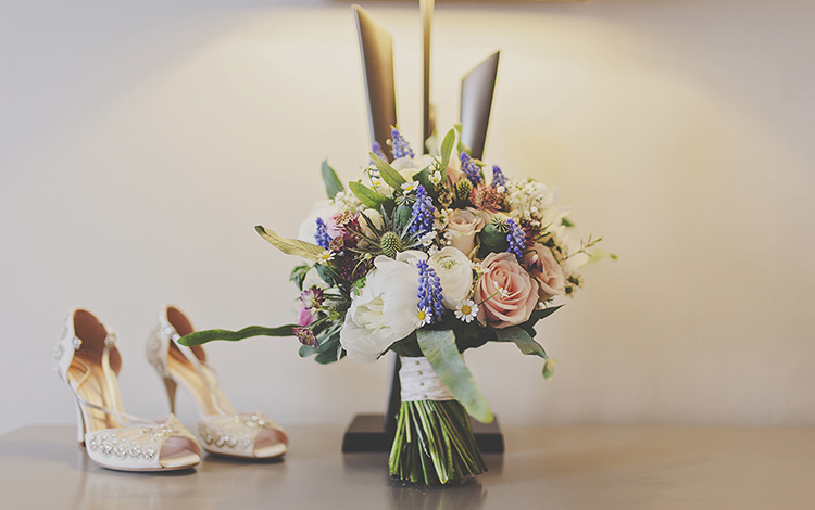 Emmy Shoes White Peony Blue Grape Hyacinth Daisy Spring Bouquet Bride Bridal Flowers  Whimsical Enchanted Woodland Twilight Wedding http://www.tracywestonphotography.com/