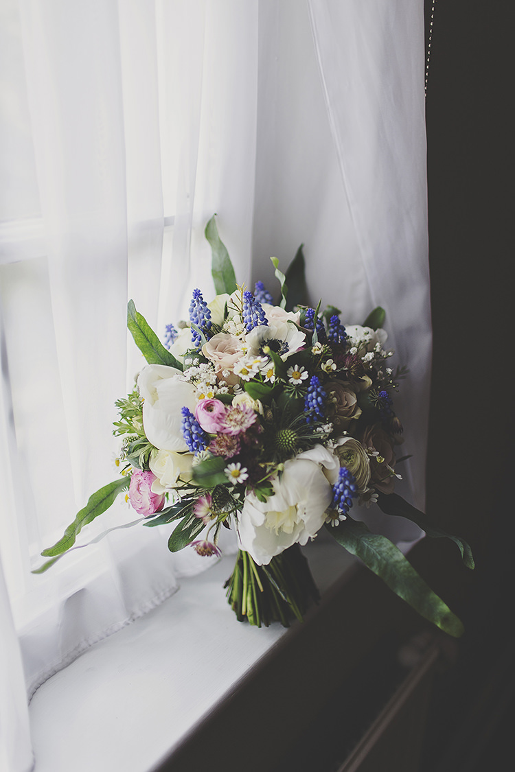 White Peony Blue Grape Hyacinth Daisy Spring Bouquet Bride Bridal Flowers  Whimsical Enchanted Woodland Twilight Wedding http://www.tracywestonphotography.com/