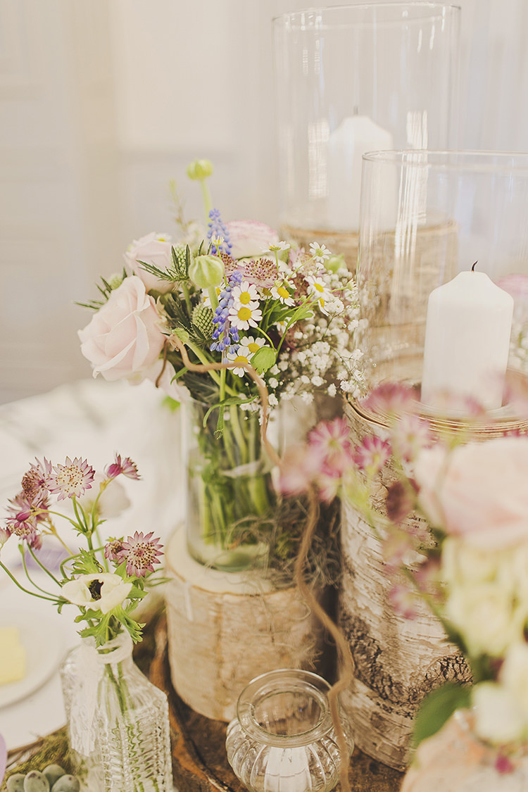 Logs Candles Flowers Centrepiece Spring Daisy Rose Blue Pink Green Whimsical Enchanted Woodland Twilight Wedding http://www.tracywestonphotography.com/