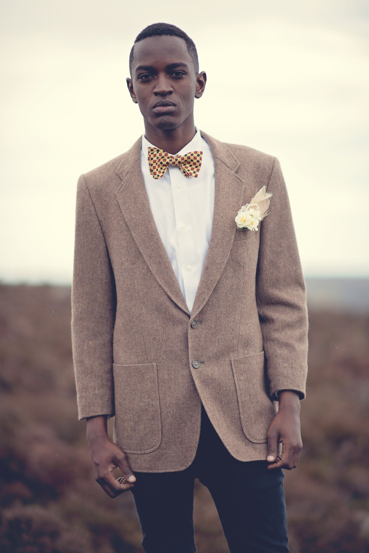 Suit Brown Jacket Tweed Groom Bow Tie Yellow Beautiful British Flower Peak District Moors Wedding Ideas http://www.sarahbrabbin.co.uk/