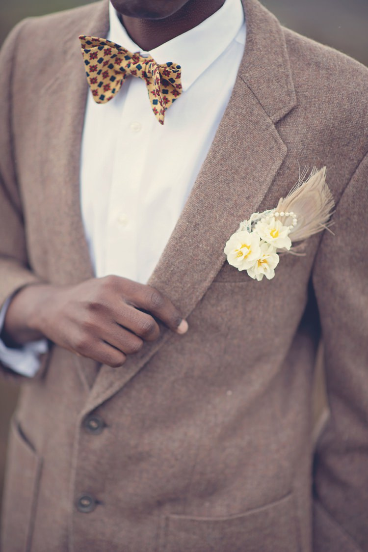 Feather Pearl Buttonhole Groom Beautiful British Flower Peak District Moors Wedding Ideas http://www.sarahbrabbin.co.uk/