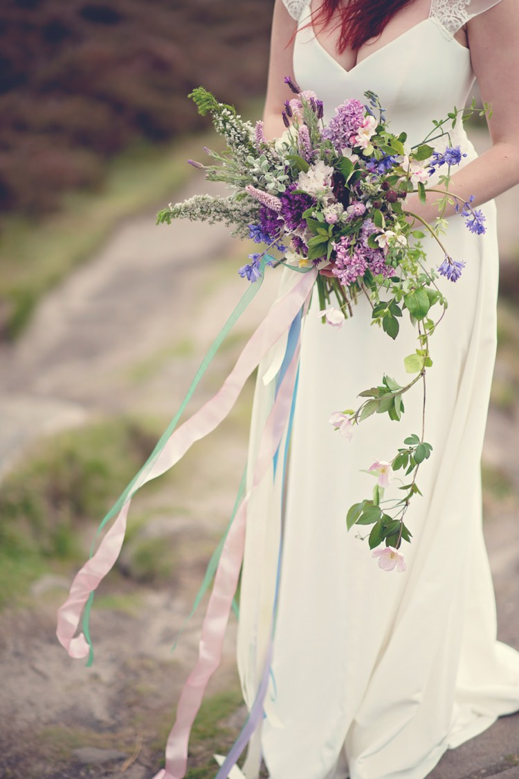Whimsical Natural Trailing Bouquet Bride Bridal Purple Blue Beautiful British Flower Peak District Moors Wedding Ideas http://www.sarahbrabbin.co.uk/