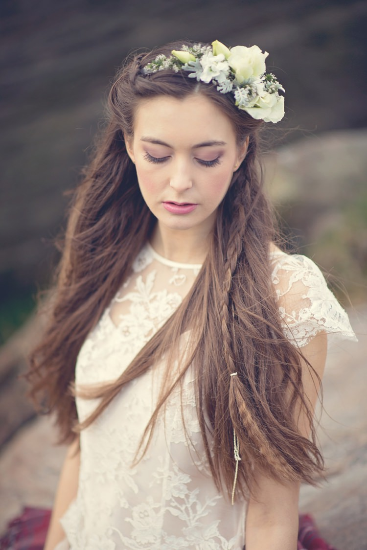 Boho Hair Long Plaited Braid Crimped Beautiful British Flower Peak District Moors Wedding Ideas http://www.sarahbrabbin.co.uk/