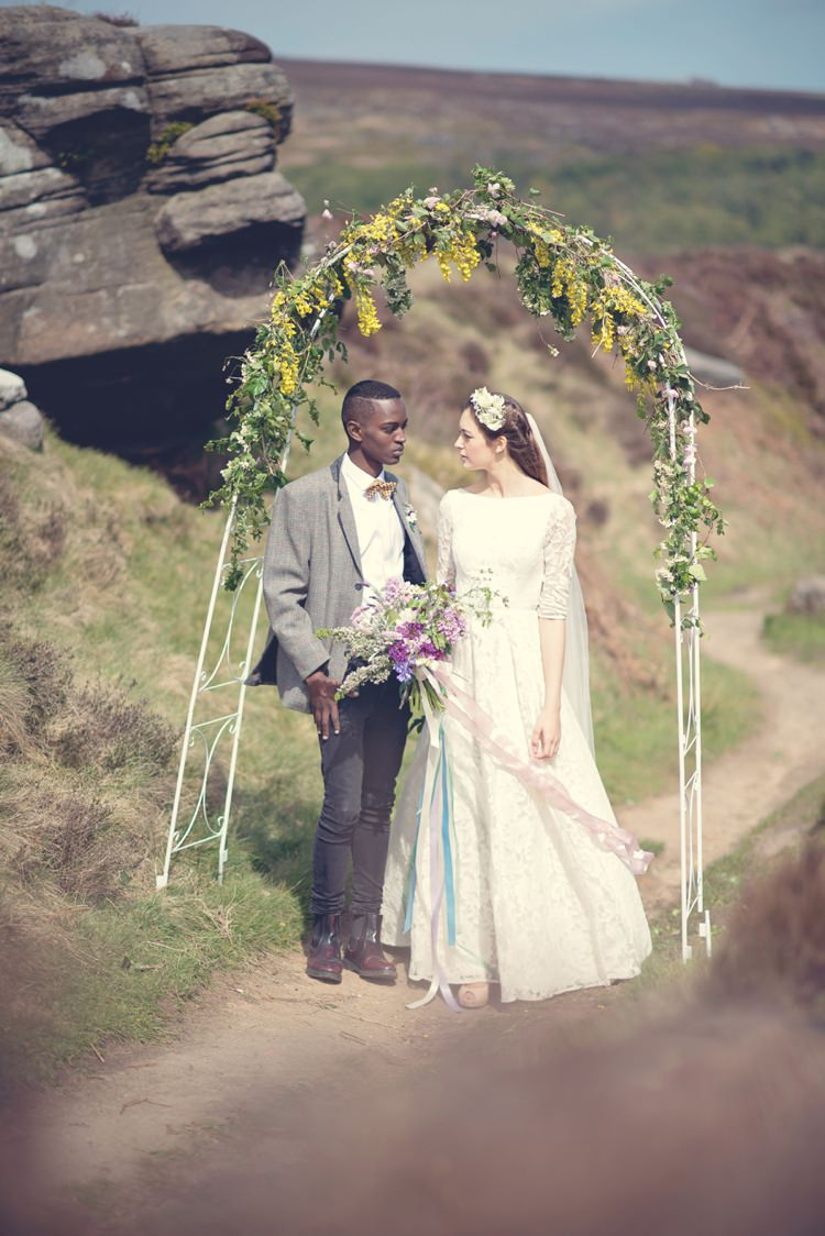 Flower Arch Backdrop Ceremony Beautiful British Flower Peak District Moors Wedding Ideas http://www.sarahbrabbin.co.uk/