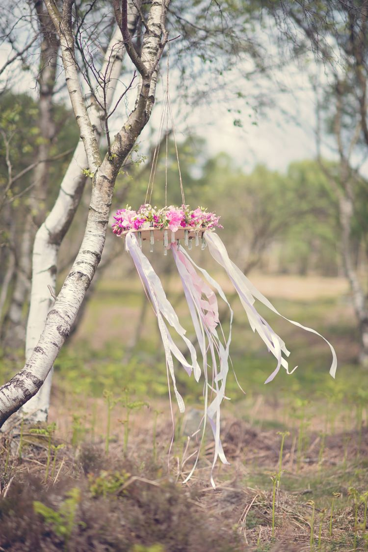 Ribbons Hanging Floral Chandelier Beautiful British Flower Peak District Moors Wedding Ideas http://www.sarahbrabbin.co.uk/