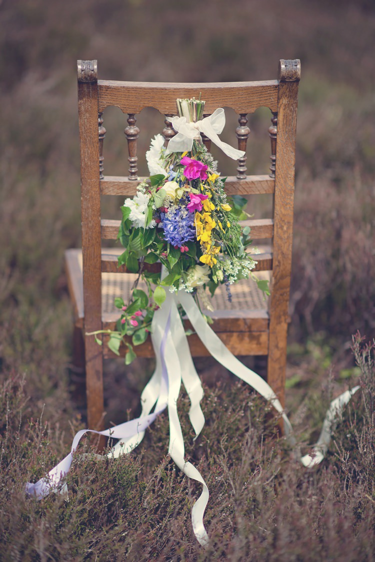 Chair Flowers Backs Ribbons Beautiful British Flower Peak District Moors Wedding Ideas http://www.sarahbrabbin.co.uk/