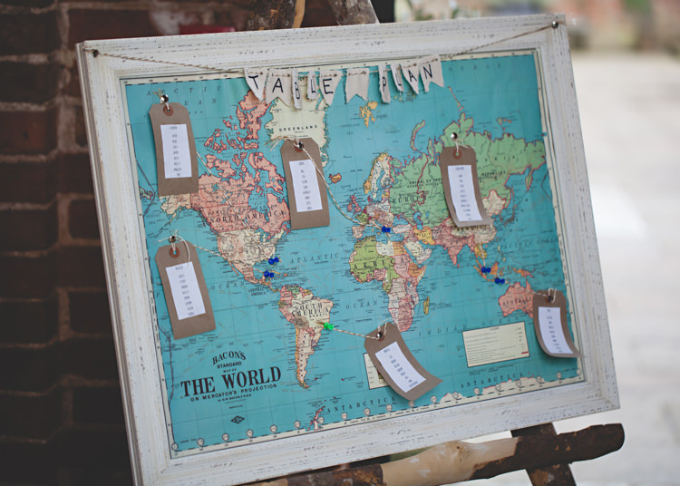 Map Seating Plan Chart Table Gold Easter Travel Barn Wedding http://hbaphotography.com/