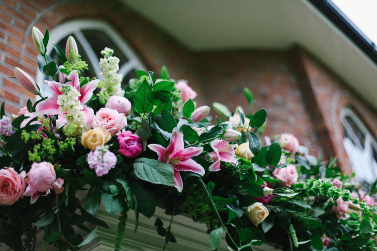 Flower Garland Pink Swag Door Arch Beautiful English Garden Blooms Marquee Wedding http://www.sansomphotography.co.uk/
