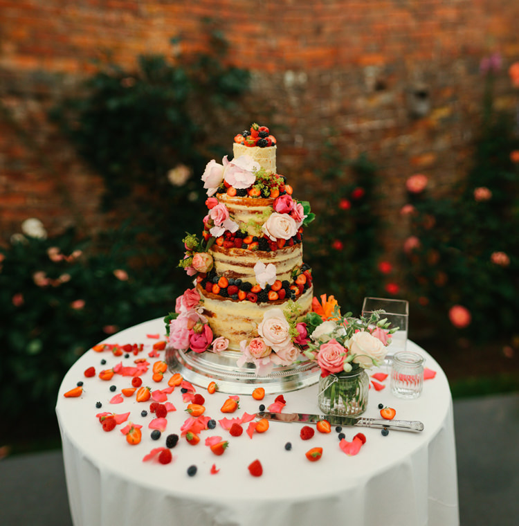 Naked Layer Sponge Cake Berries Cream Jam Flowers Beautiful English Garden Blooms Marquee Wedding http://www.sansomphotography.co.uk/