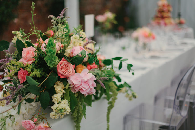 Pink Table Arrangements Centrepiece Flowers Beautiful English Garden Blooms Marquee Wedding http://www.sansomphotography.co.uk/