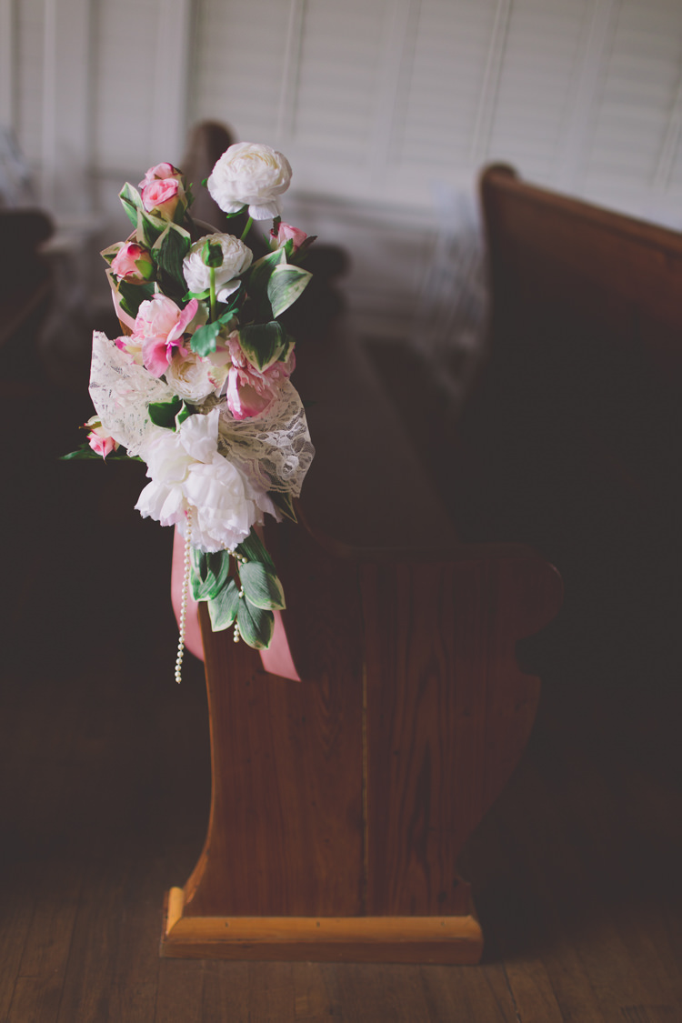 Peony Rose Pew Ends Flowers Cremony Classic Pink Ranch Florida Wedding http://stacypaulphotography.com/
