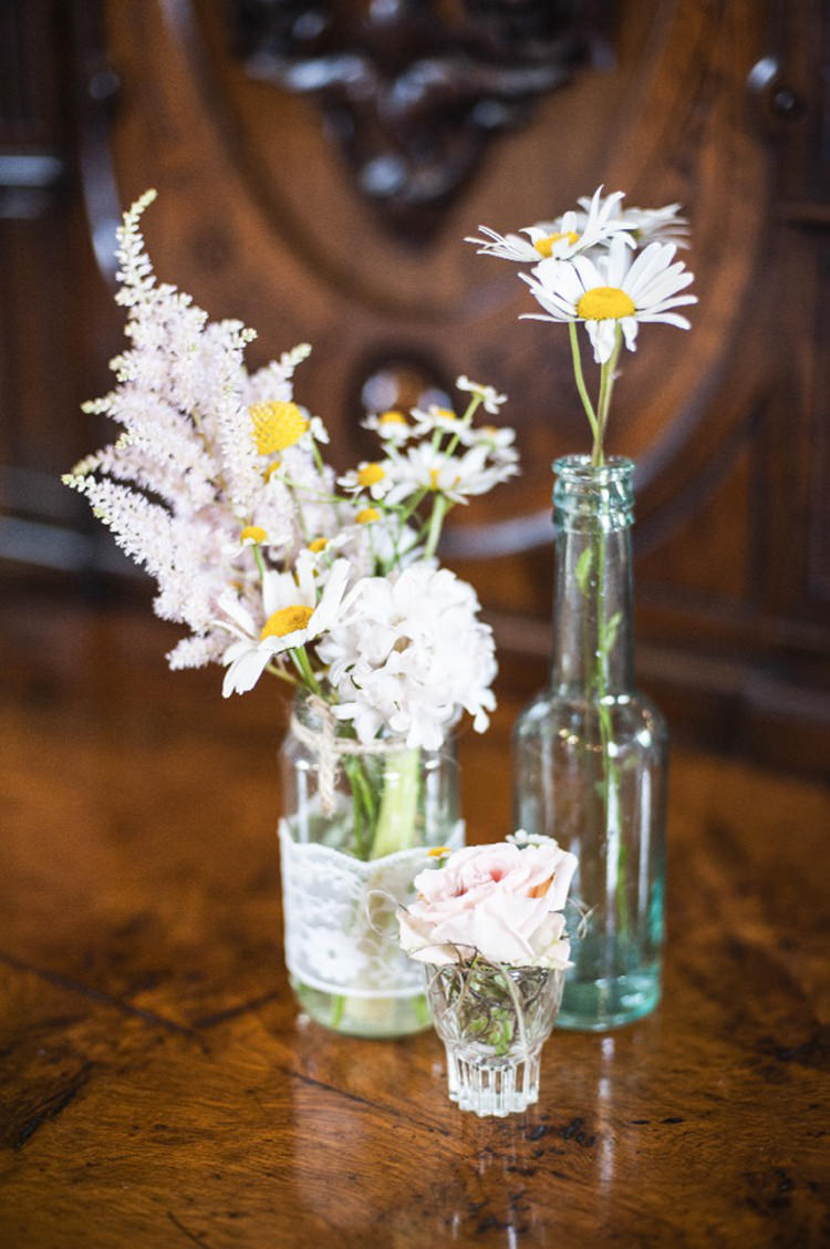 Daisies, Craspedia Lace Jar Flowers Books Decor Pretty Village Fete Floral Museum Cardiff Wedding http://eleanorjaneweddings.co.uk/