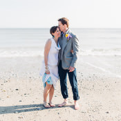 Chilled DIY Beach Front Cafe Yellow & Blue Wedding in Cornwall