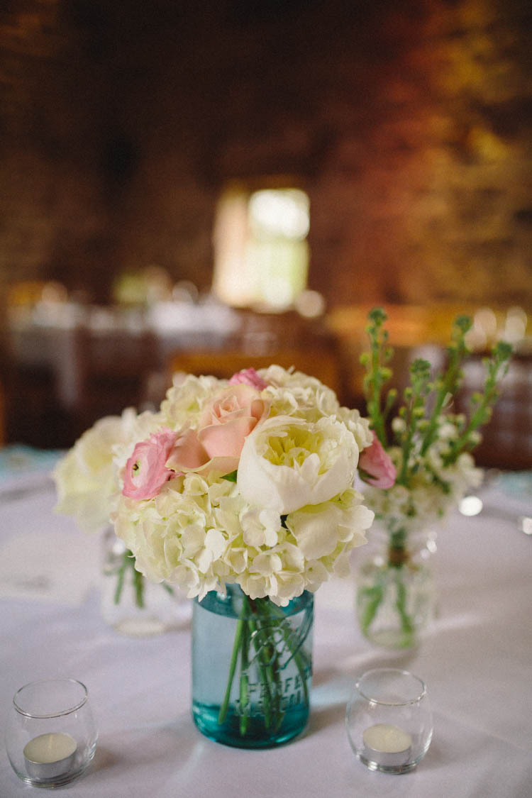 Peony Hydrangea Kilner Jar Flowers Centrepiece Happy Relaxed Modern Meets Traditional Countryside Wedding http://rachelryanphotography.co.uk/