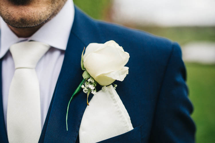 White Rose Buttonhole Happy Relaxed Modern Meets Traditional Countryside Wedding http://rachelryanphotography.co.uk/