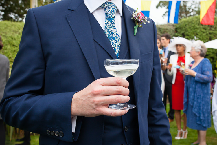 Flower Floral Print Tie Groom Relaxed Fun Home Made Back Garden Wedding http://www.rabbitandporkphotography.com/