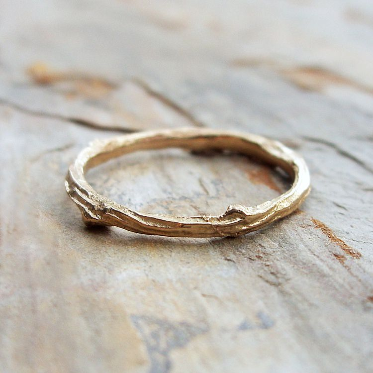 Solid 14k Yellow Gold Twig Wedding Band or Stacking Ring by brightsmith